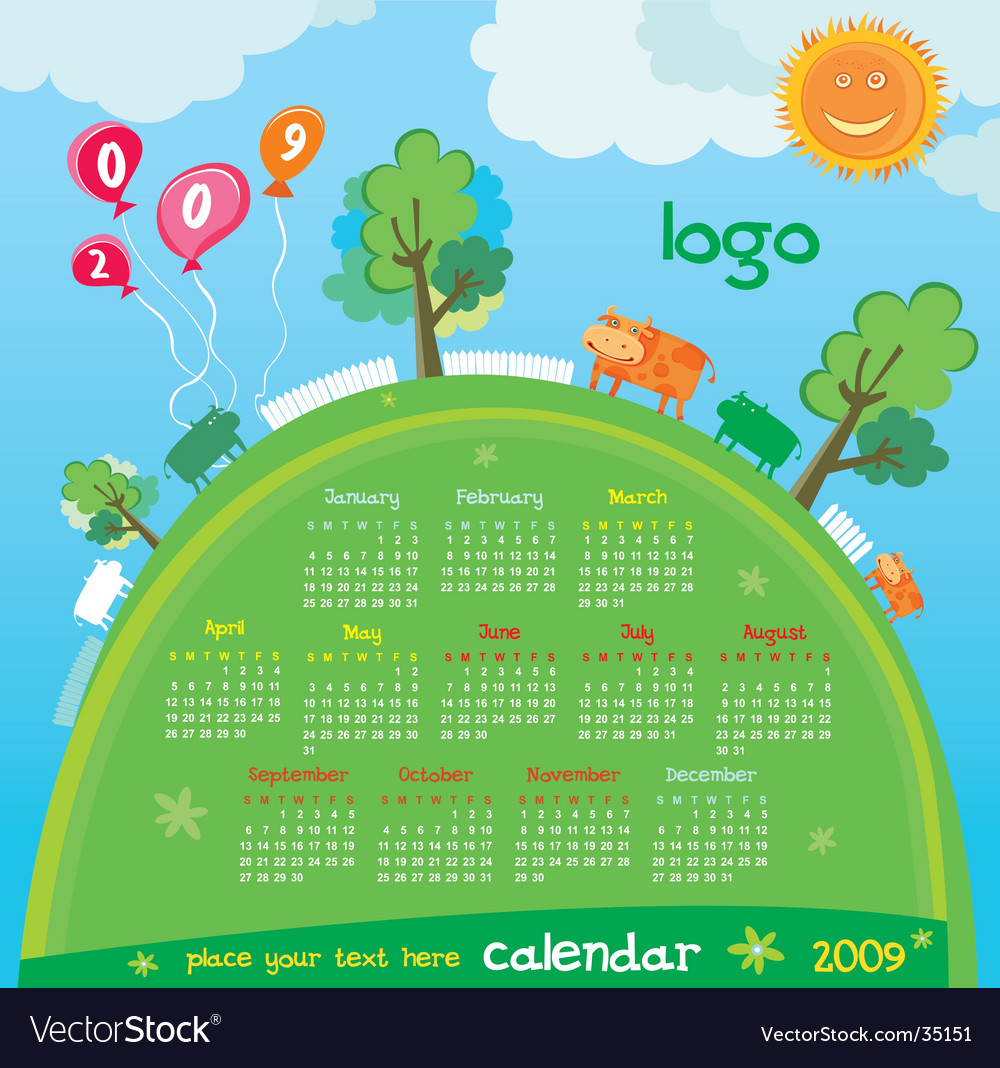 2009 calendar with cute cows vector