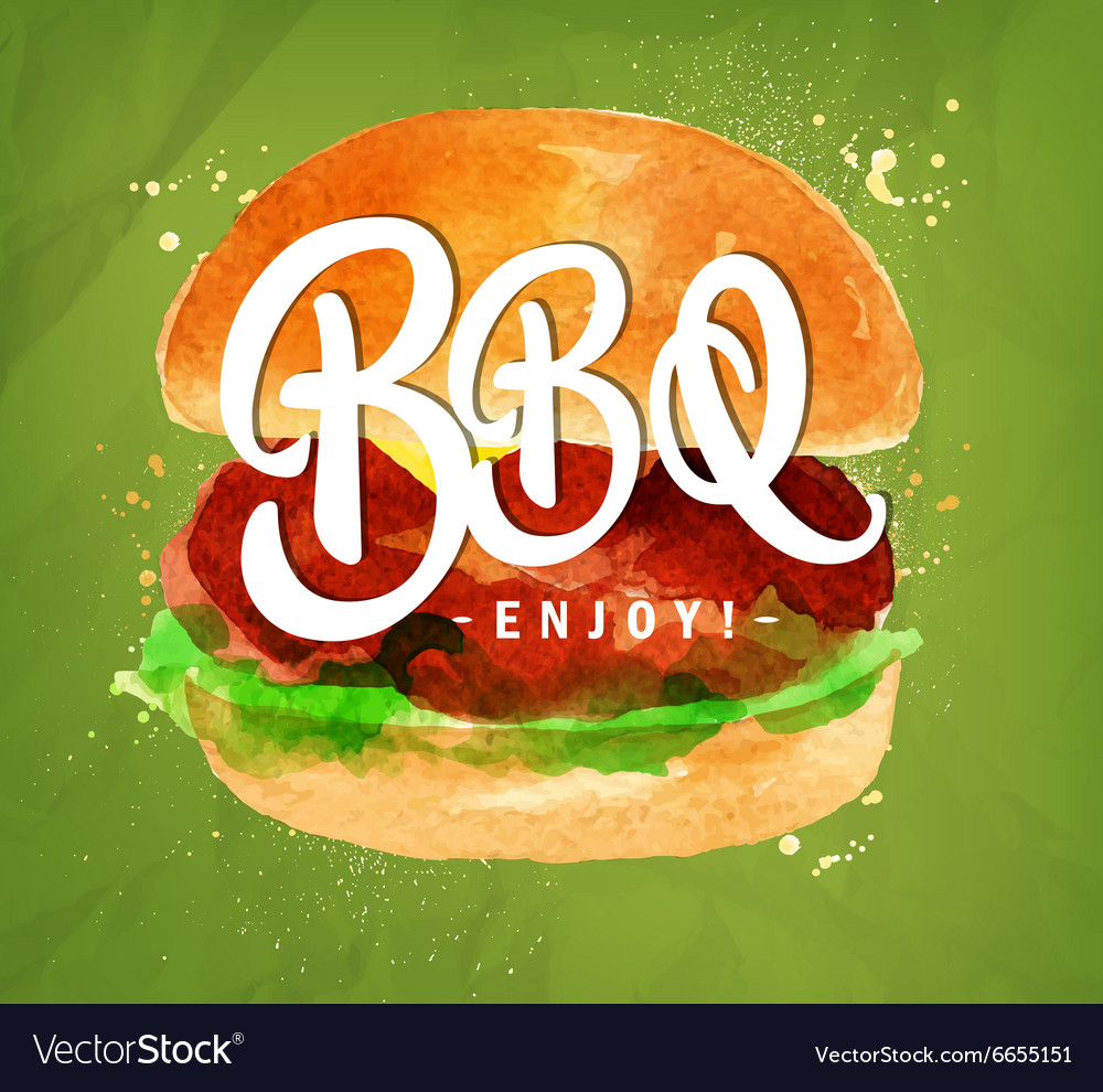 Burger bbq green vector