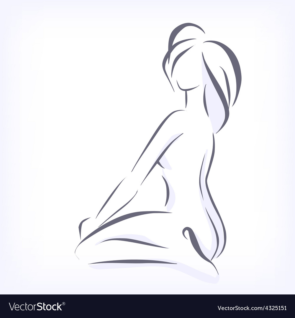 Symbolic modern image of bare woman vector