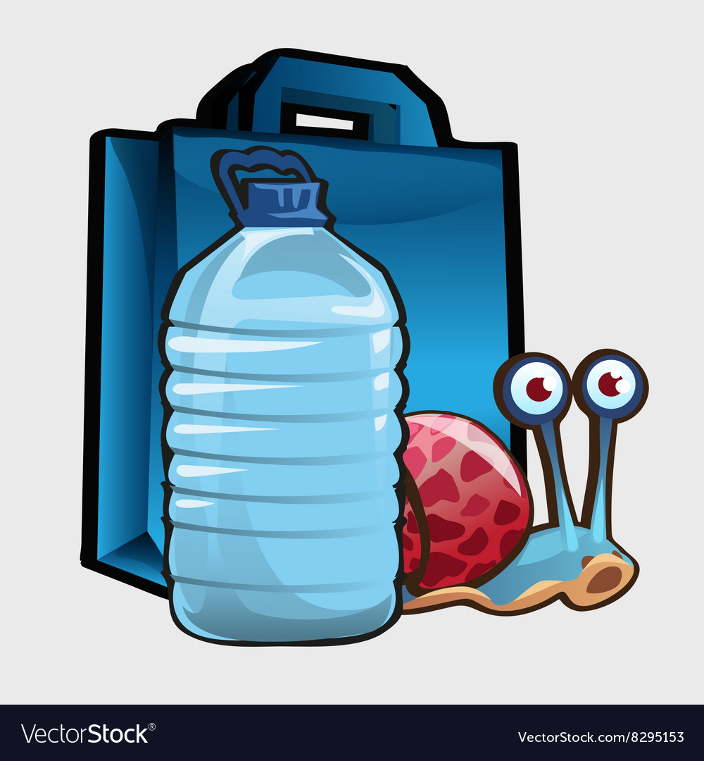 Blue shopping bag large bottle of water and snail vector