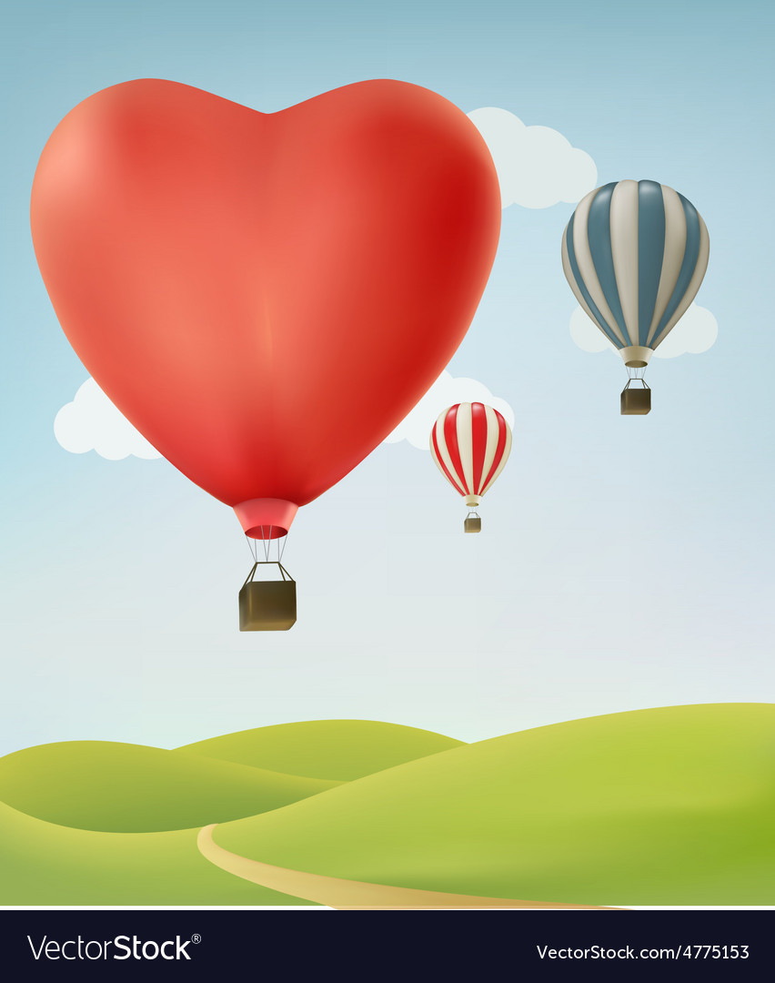 Nature background with colorful air balloons and vector