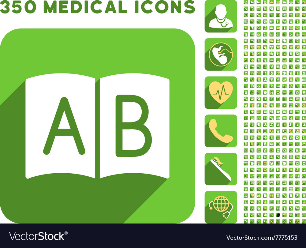 Open handbook icon and medical longshadow icon set vector