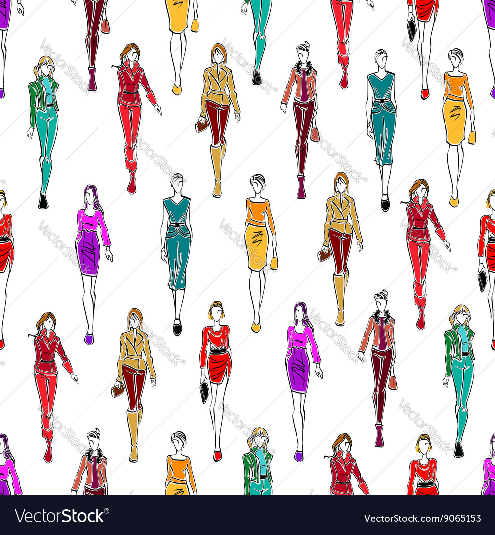 Seamless pattern of women in fashionable clothes vector