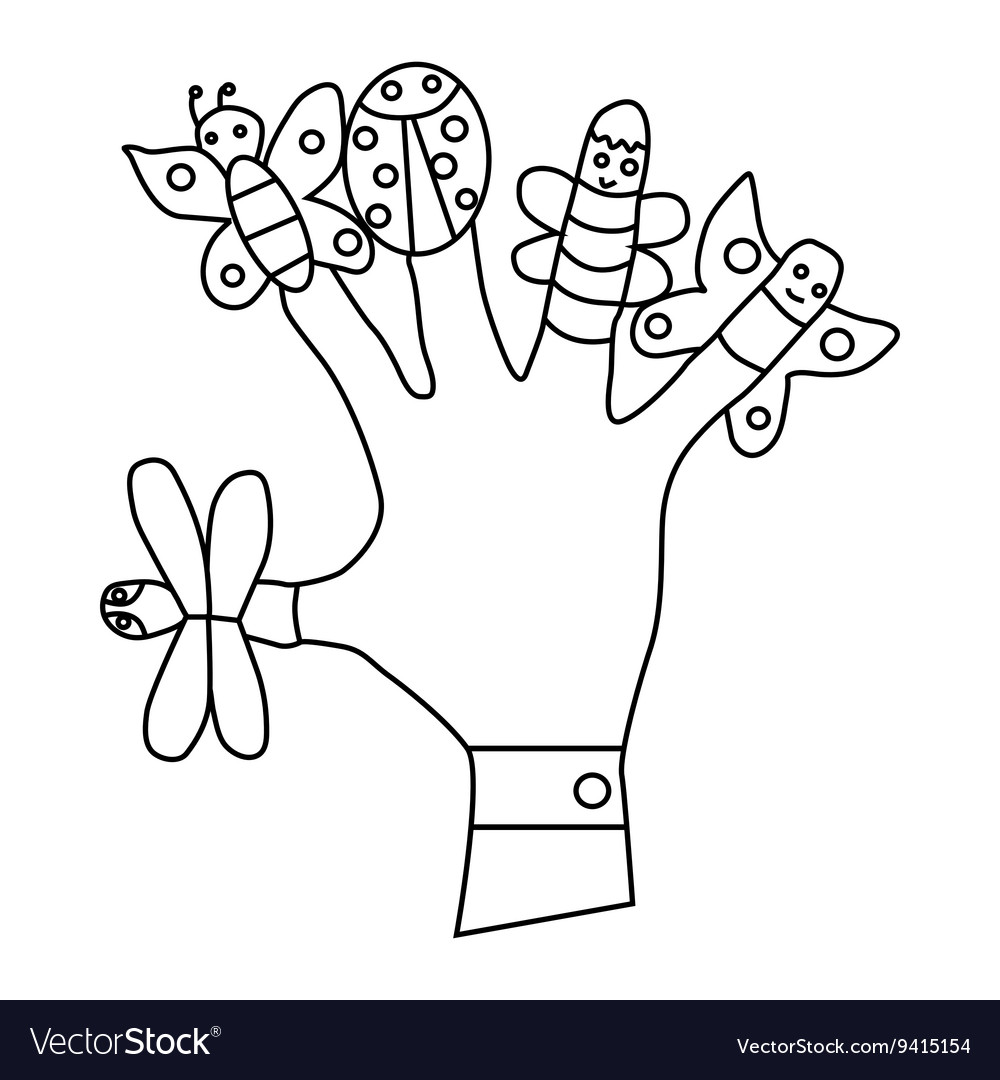 Hand wearing finger puppets icon vector