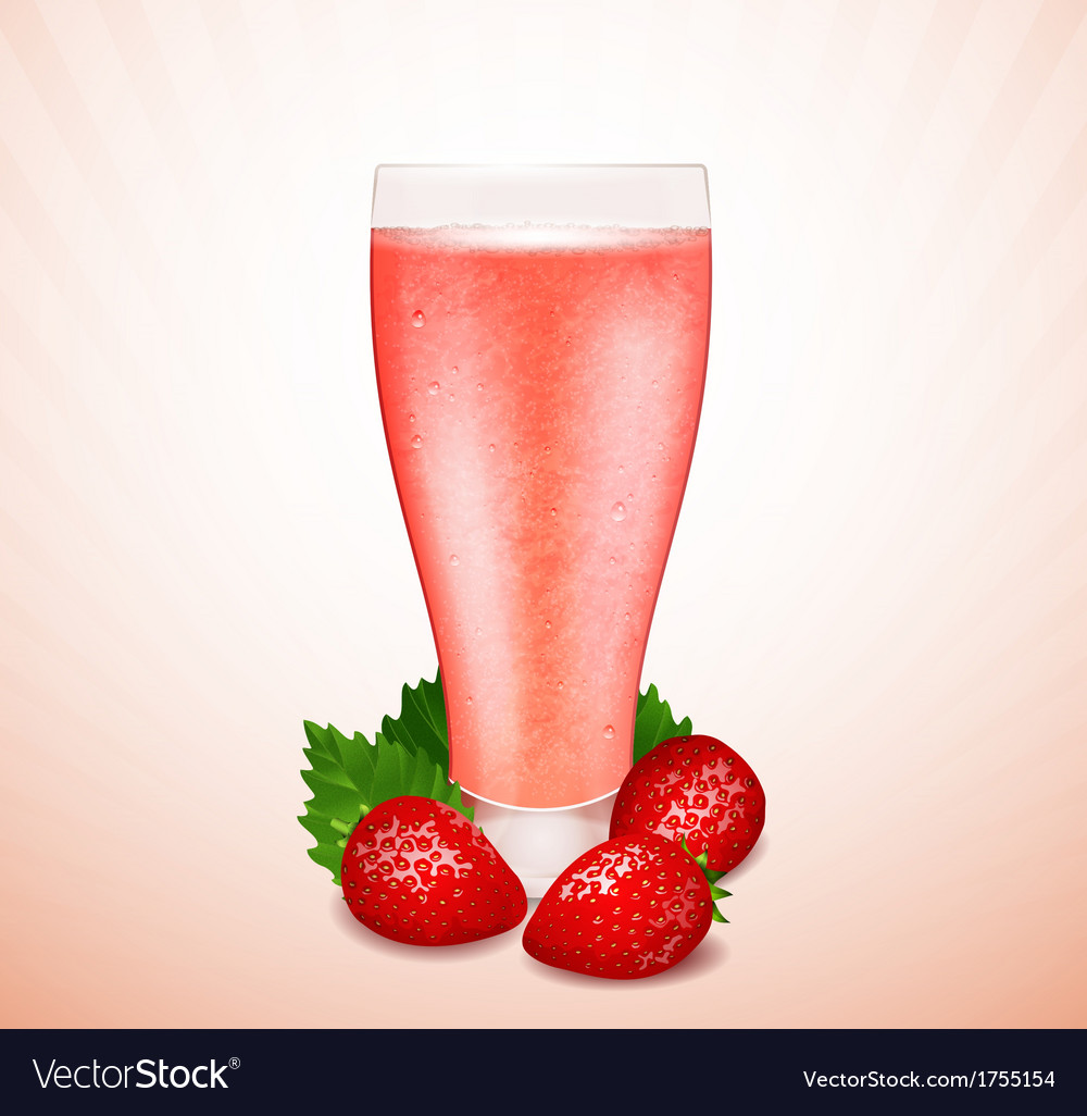 Strawberry milk vector