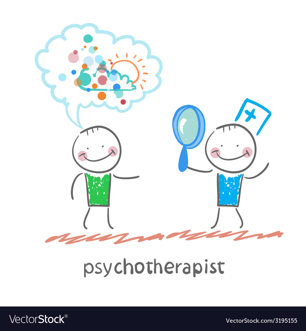 Psychotherapist looking through a magnifying glass vector