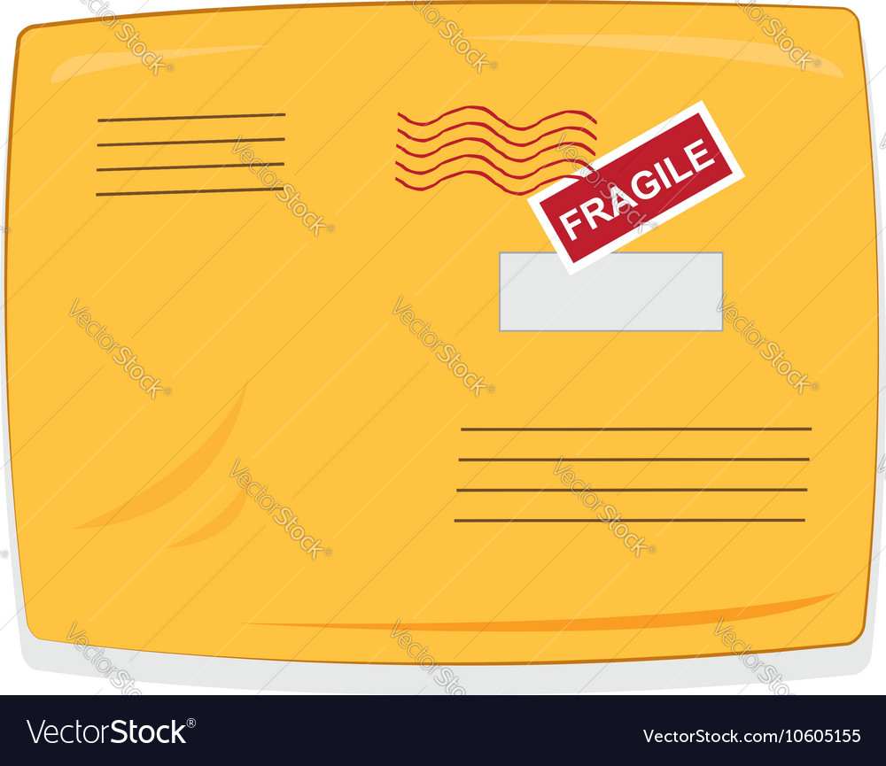Yellow shipping envelope isolated vector