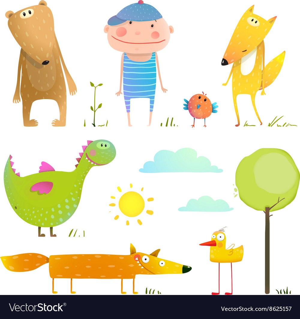 Collection cartoon animals and child for kids vector