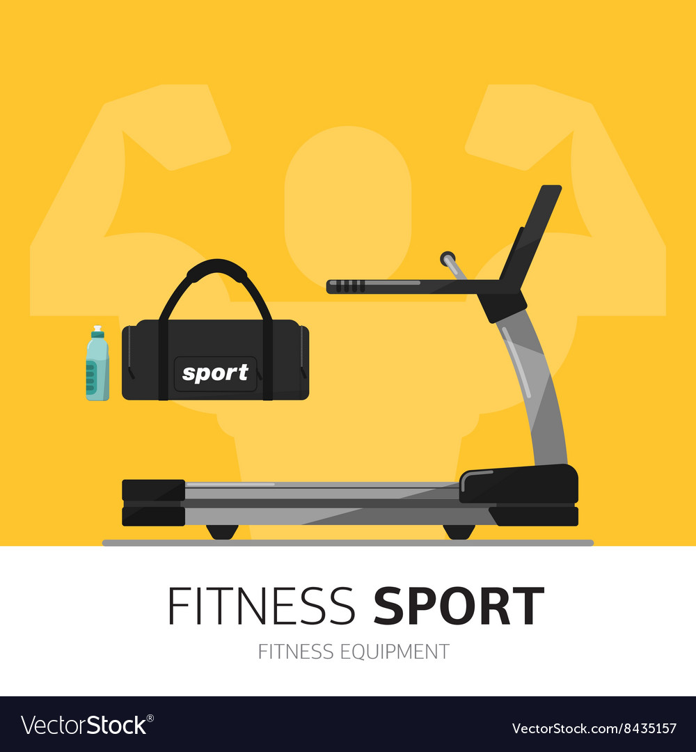 Gym equipment concept treadmill icon vector
