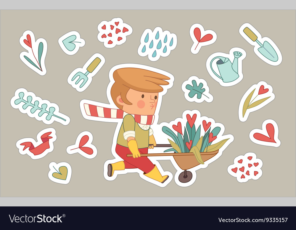 Love gardener stickers set dodo people collection vector