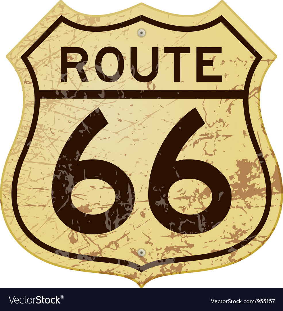 Rusty route 66 vector