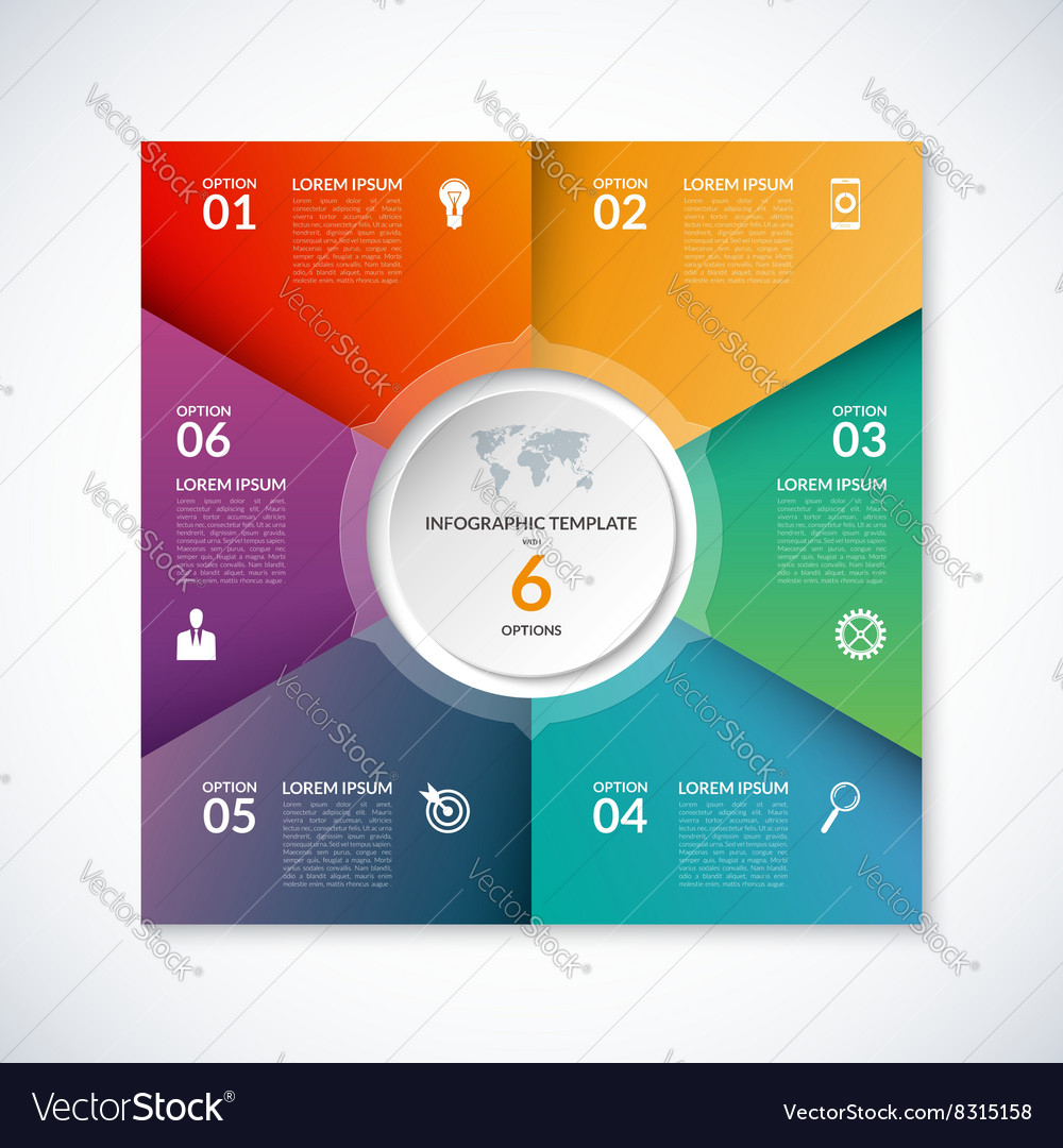 Infographic square template with 6 options vector