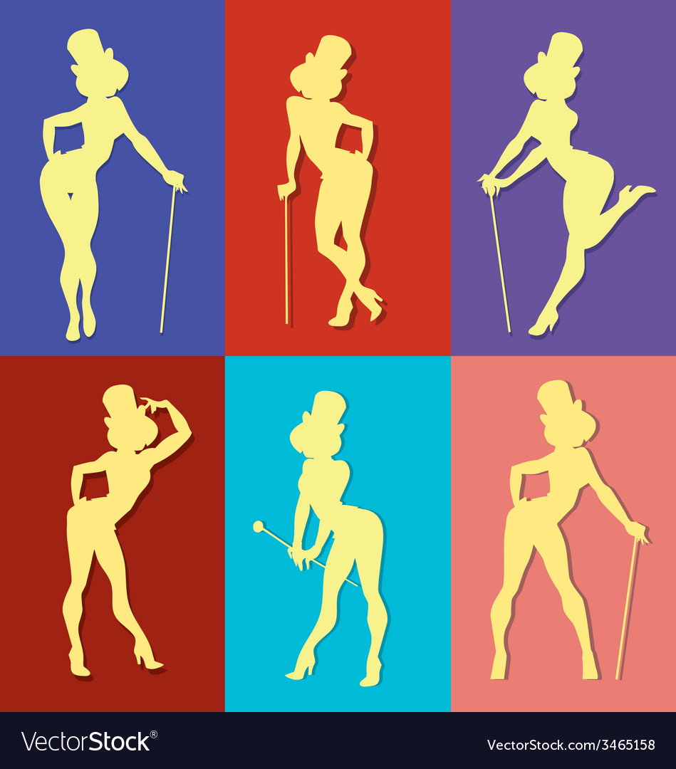 Pin up style silhouette of show girl vector