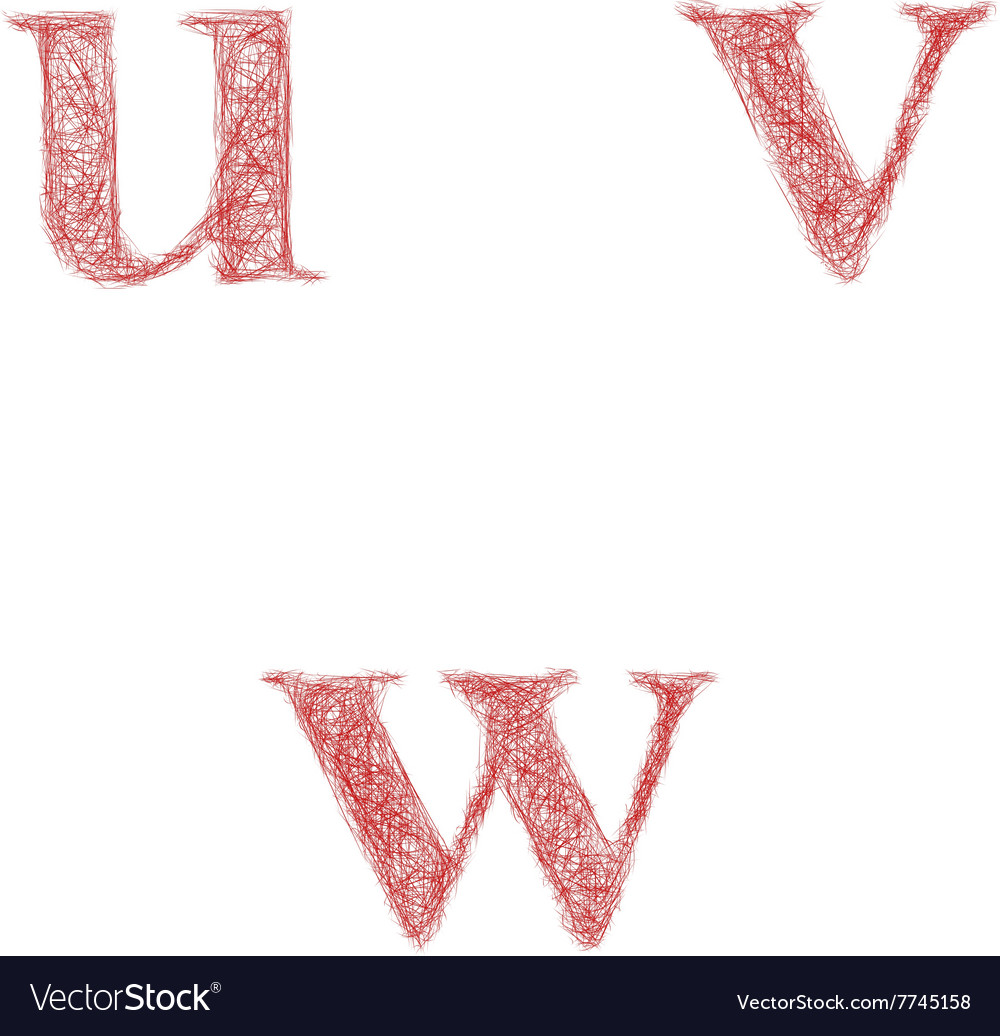 Red sketch font set  lowercase letters u v w vector