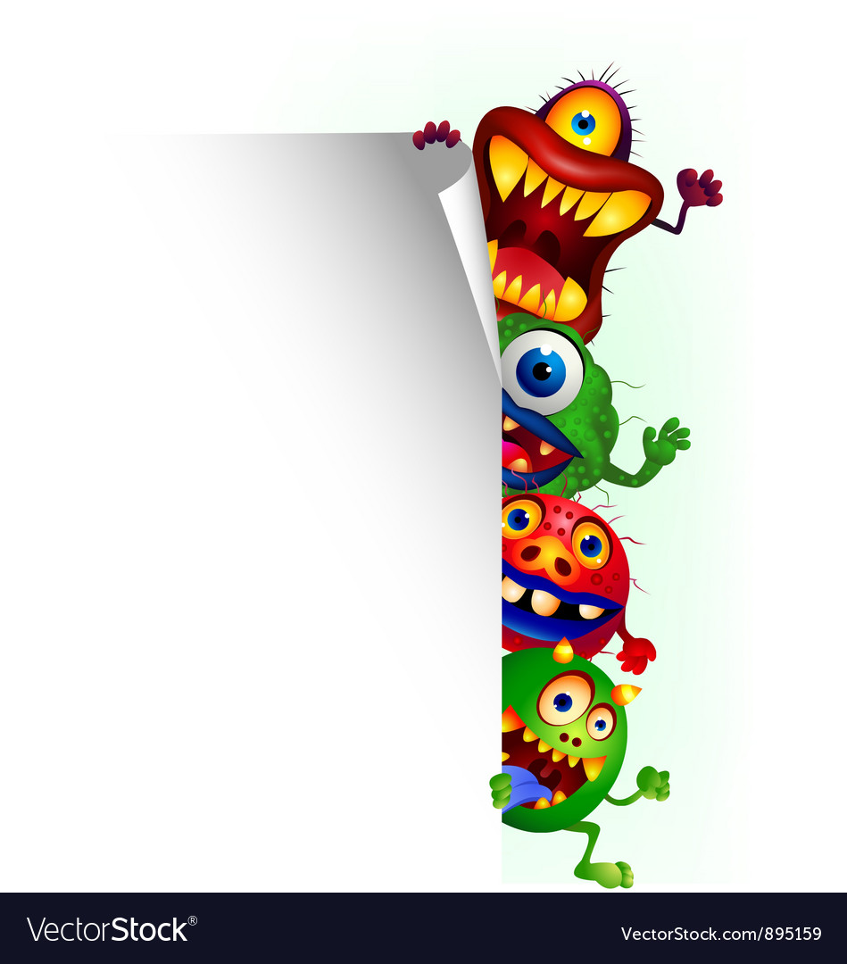 Monster cartoon with blank sign vector