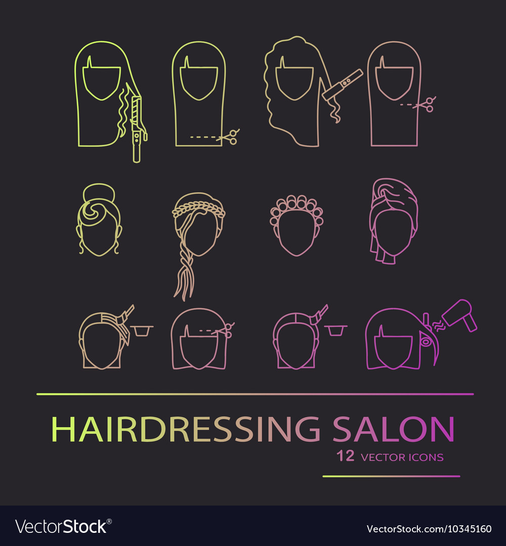 Hairdressing salon line art icons vector