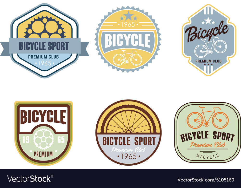 Typographic bicycle themed label design set  bike vector