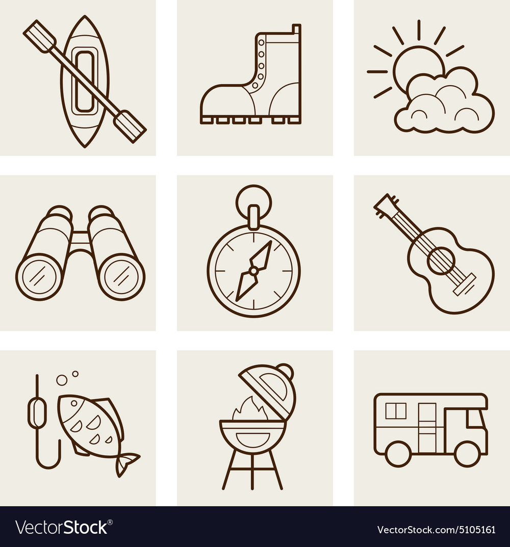 Camping and outdoor outline icons vector