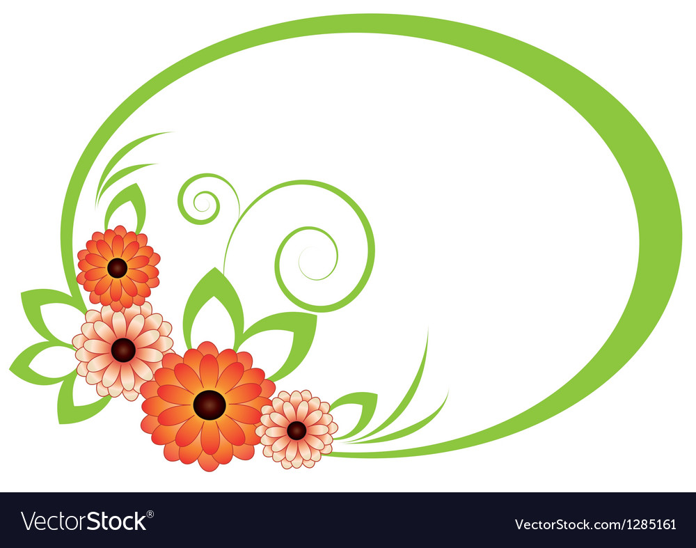 Oval frame with chrysanthemum vector
