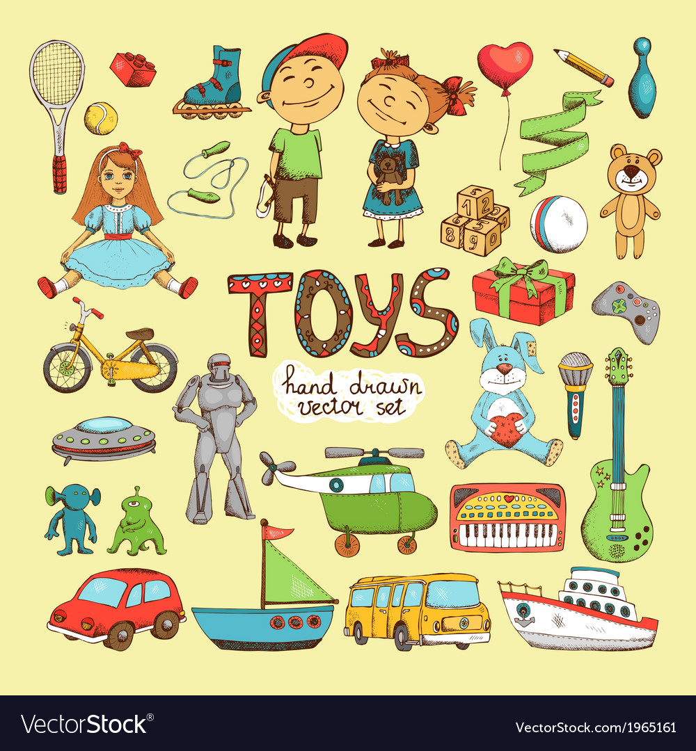 Set of cartoon toys vector