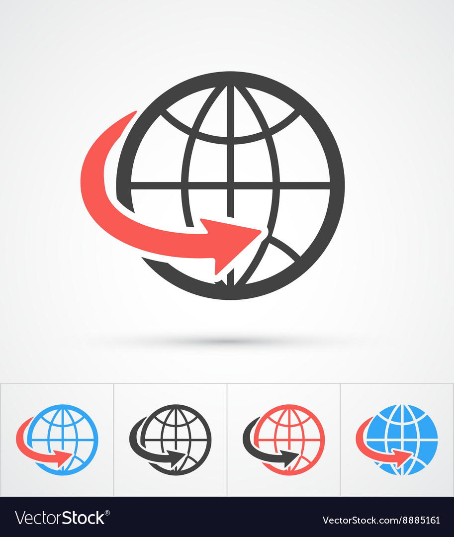 Trendy globe with arrow colorful and black icon vector