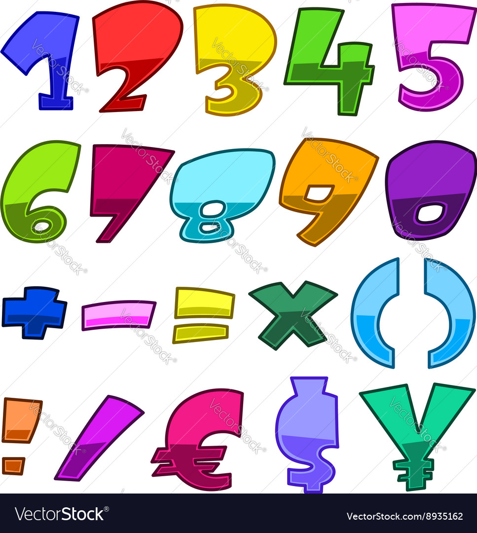 Bright cartoon numbers vector