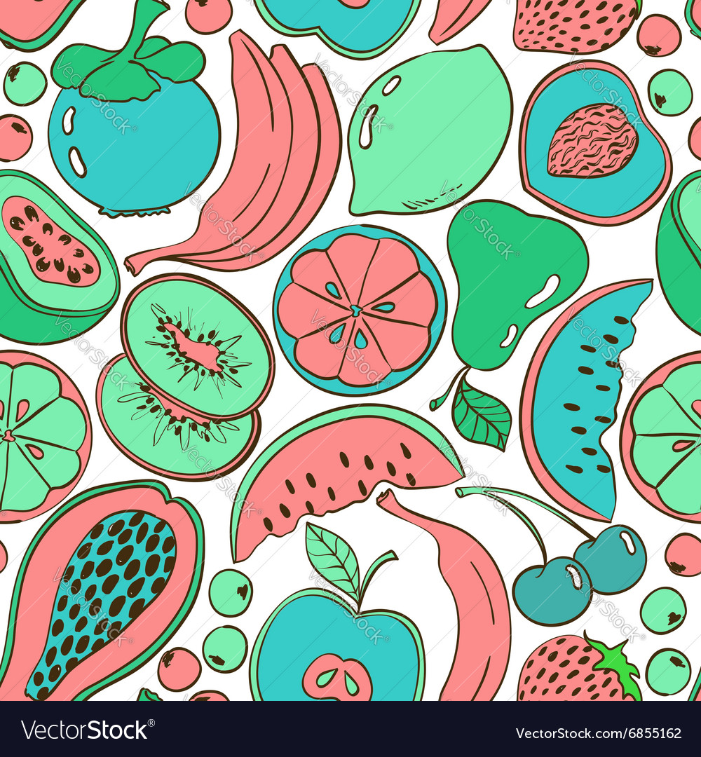 Cartoon colorful fruit seamless pattern vector