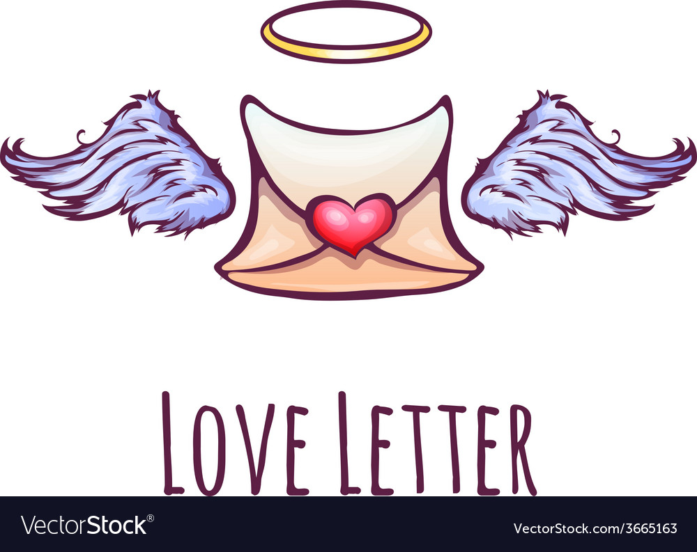 Love letter with wings and nimb vector