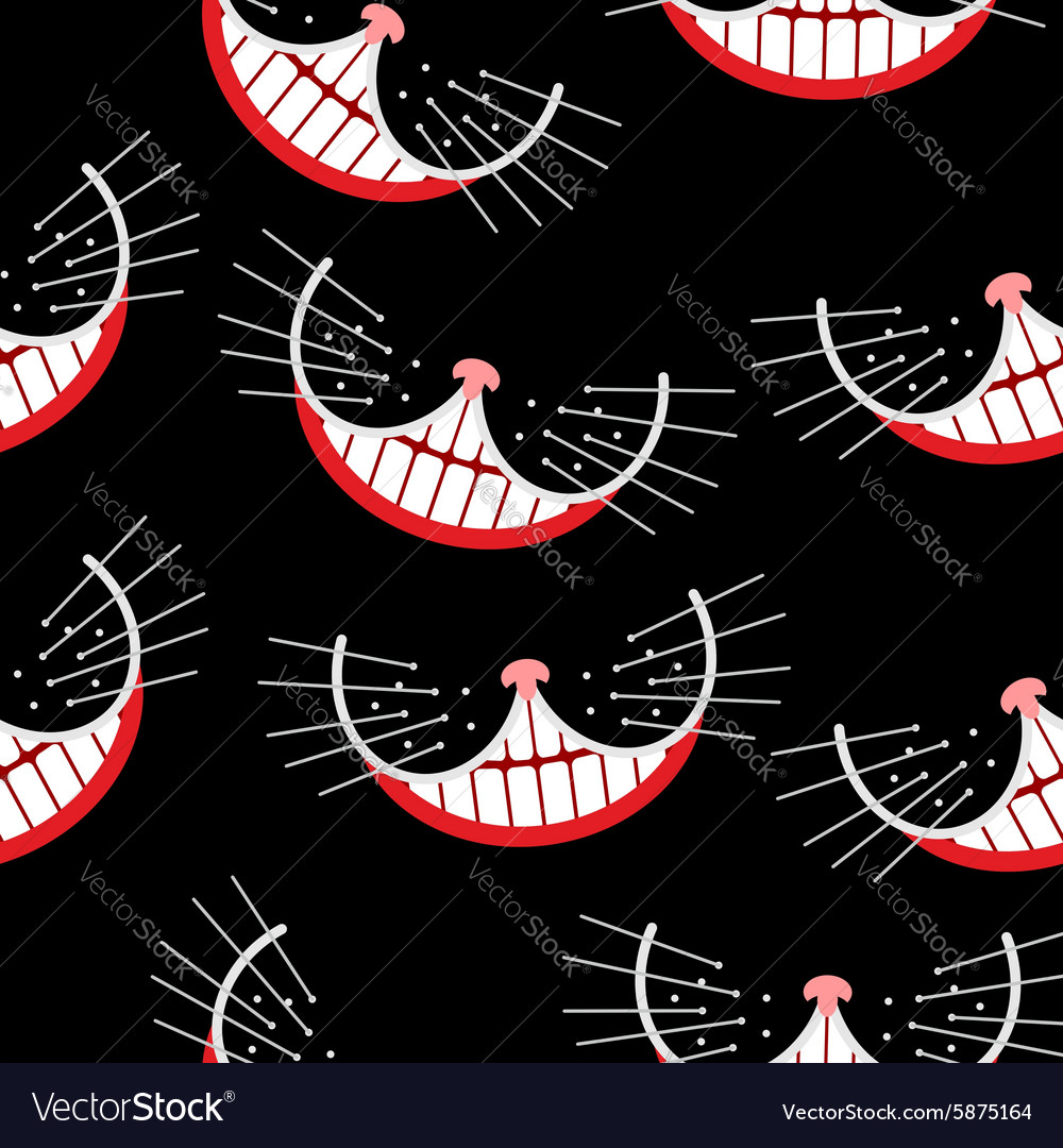 Cheshire cat smile seamless pattern background vector