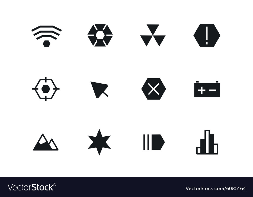 Outline ui technology icons set vector