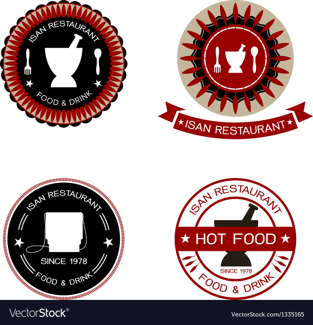 Thai restaurant labels vector