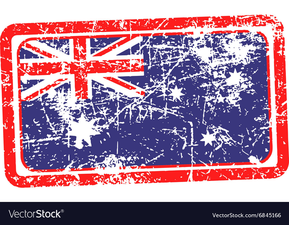 Australia flag red grunge rubber stamp vector
