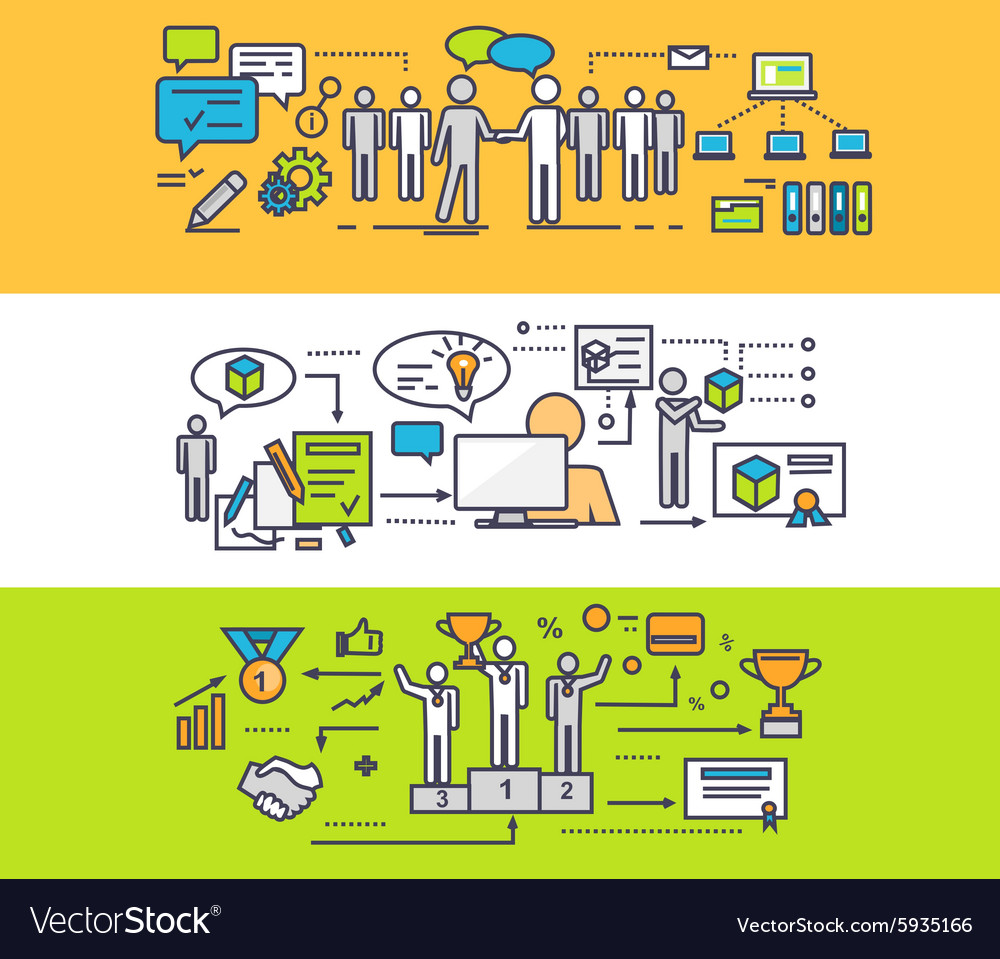 Concept process of successful teamwork vector