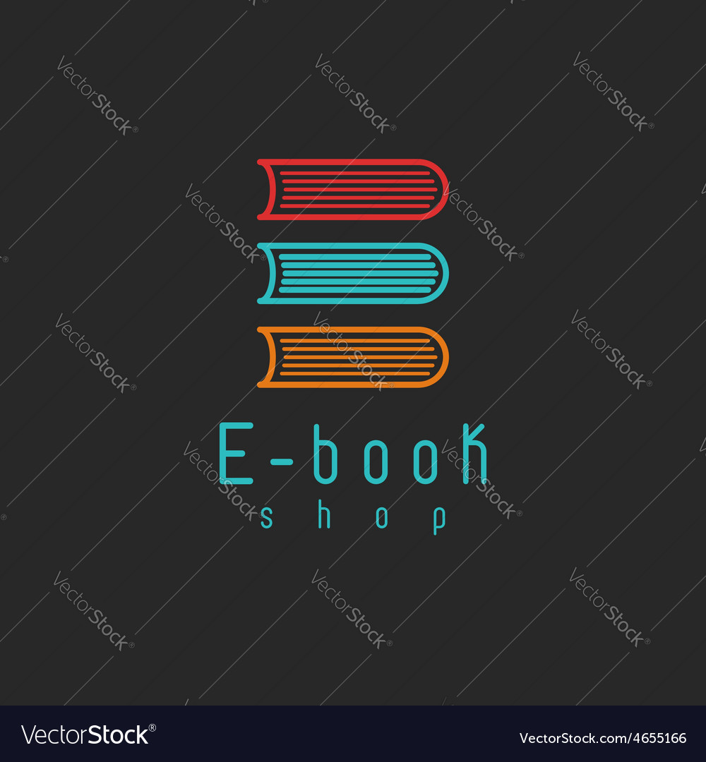 Ebook mockup logo internet education or learning vector