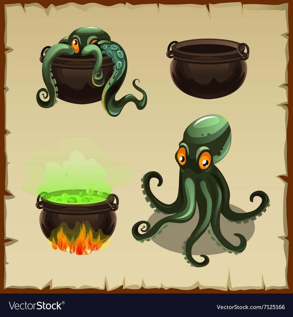 Four objects of the pot and octopus vector