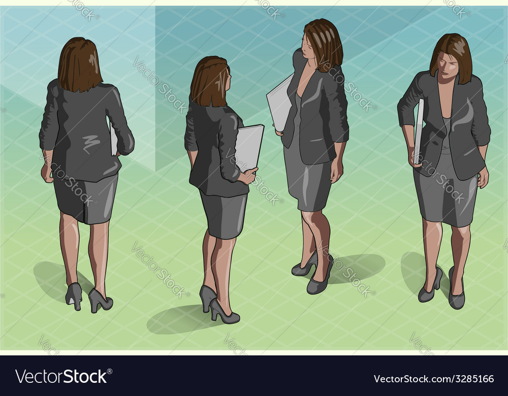 Isometric woman secretary standing vector