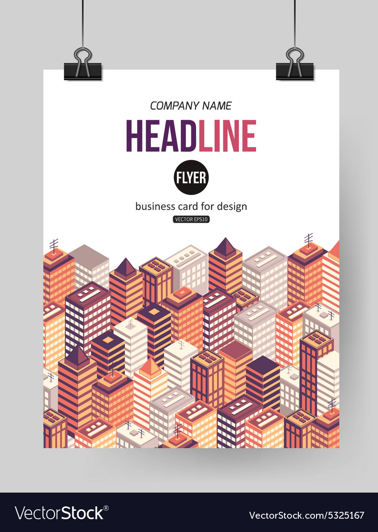 Flat isometric city brochure template with place vector