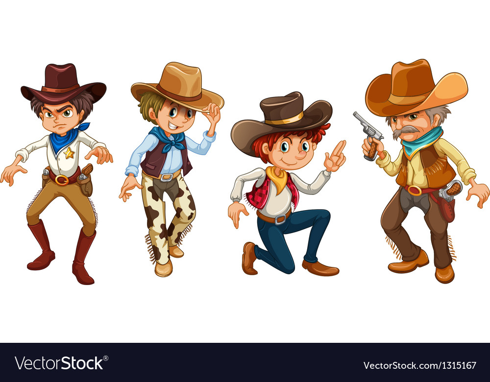 Four cowboys vector