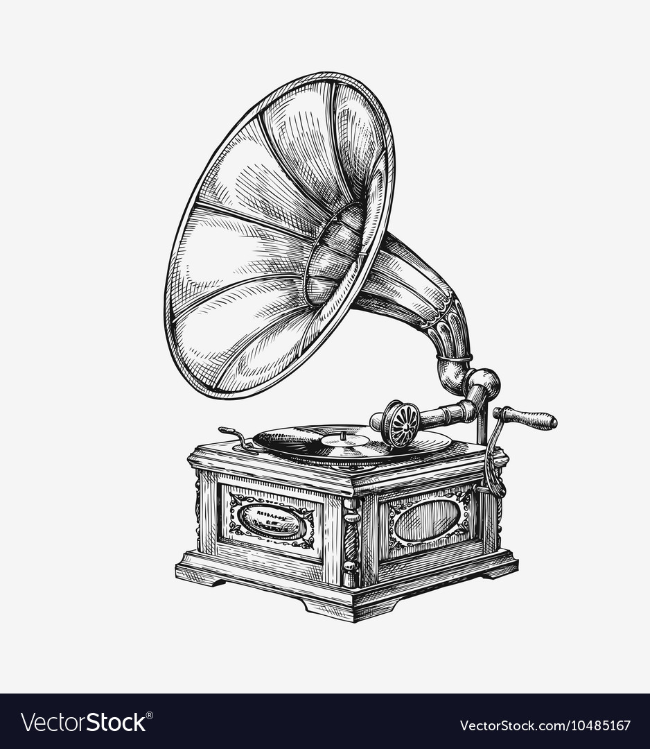 Handdrawn vintage gramophone sketch music vector