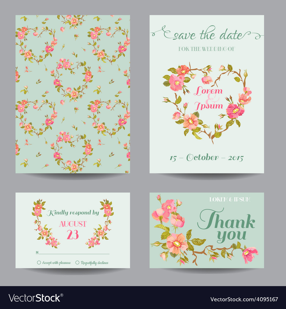 Invitationcongratulation card set  for wedding vector