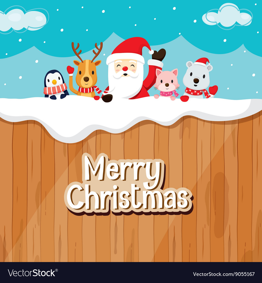 Santa claus animals on wood fence vector