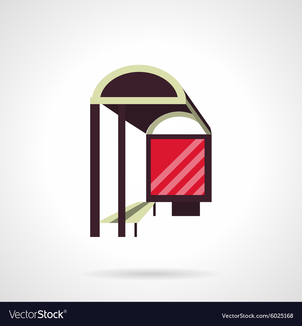 Bus stop with lightbox flat icon vector