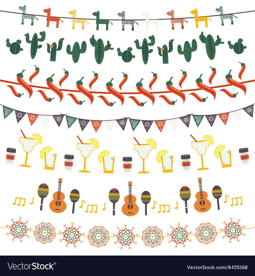 Hanging festive mexican banners flags garlands vector