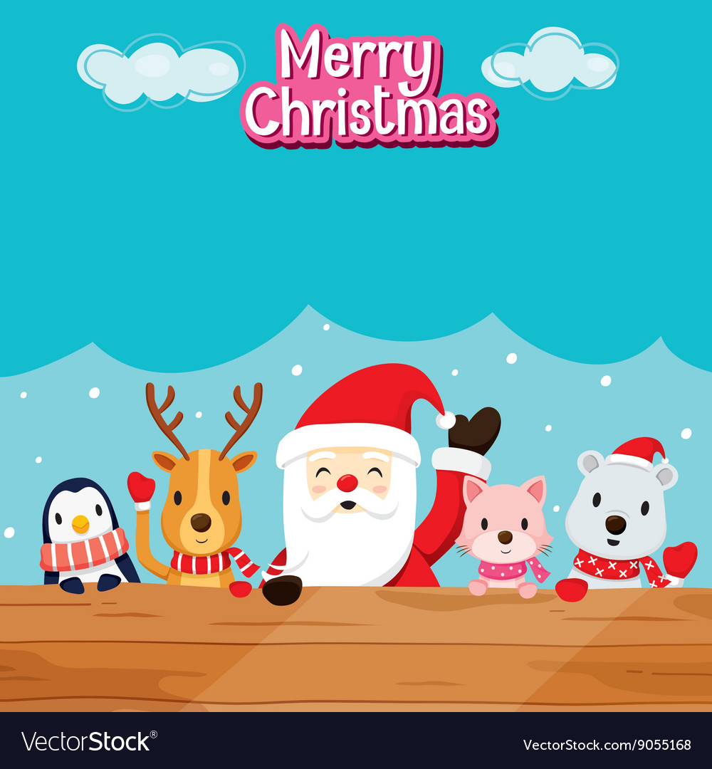 Santa claus animals on wood vector