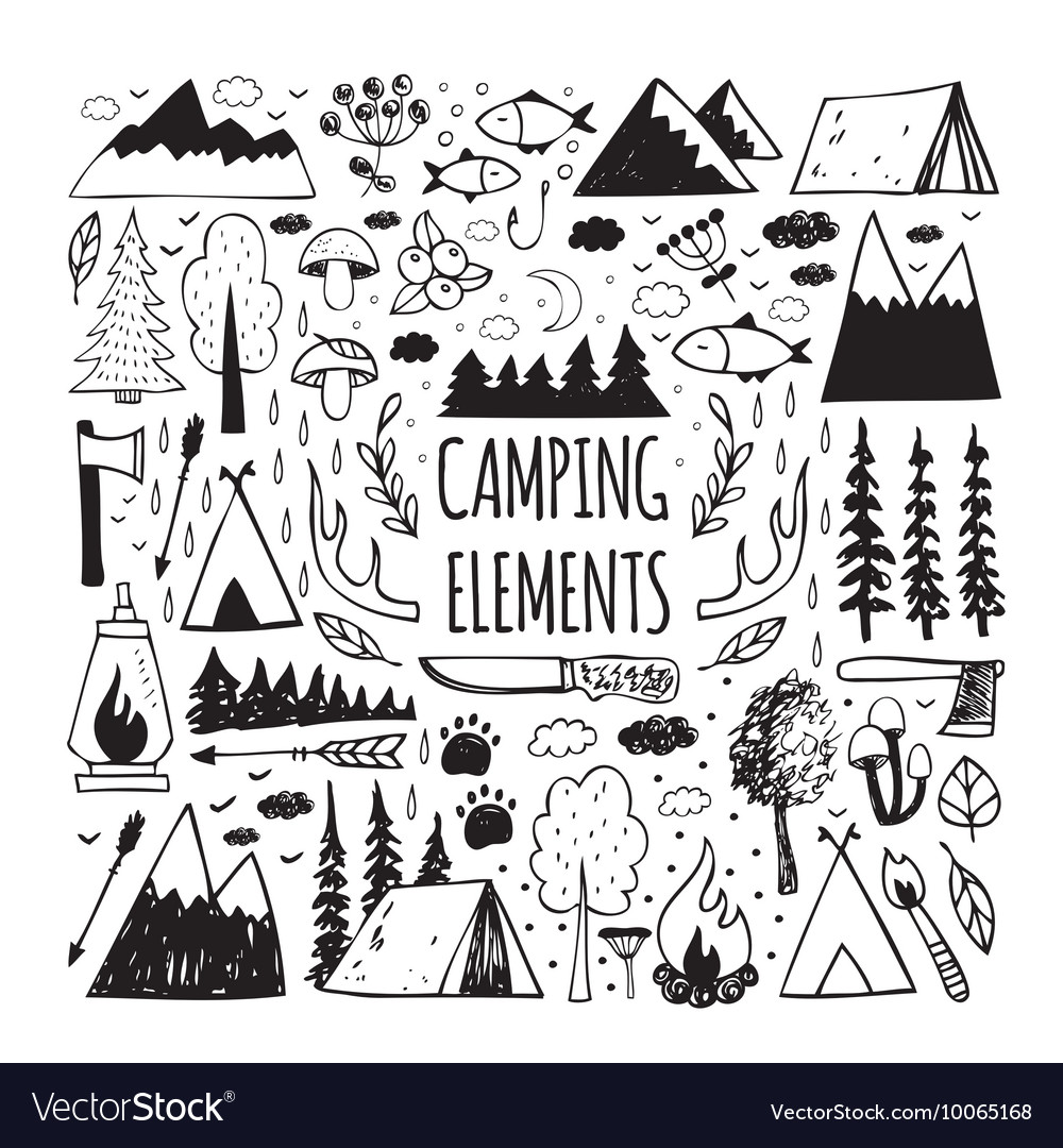 Set of handdrawn elements for design logo camping vector