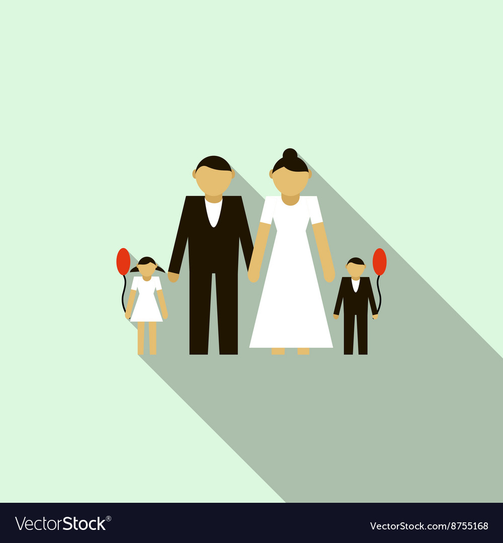 Wedding couple with children icon flat style vector