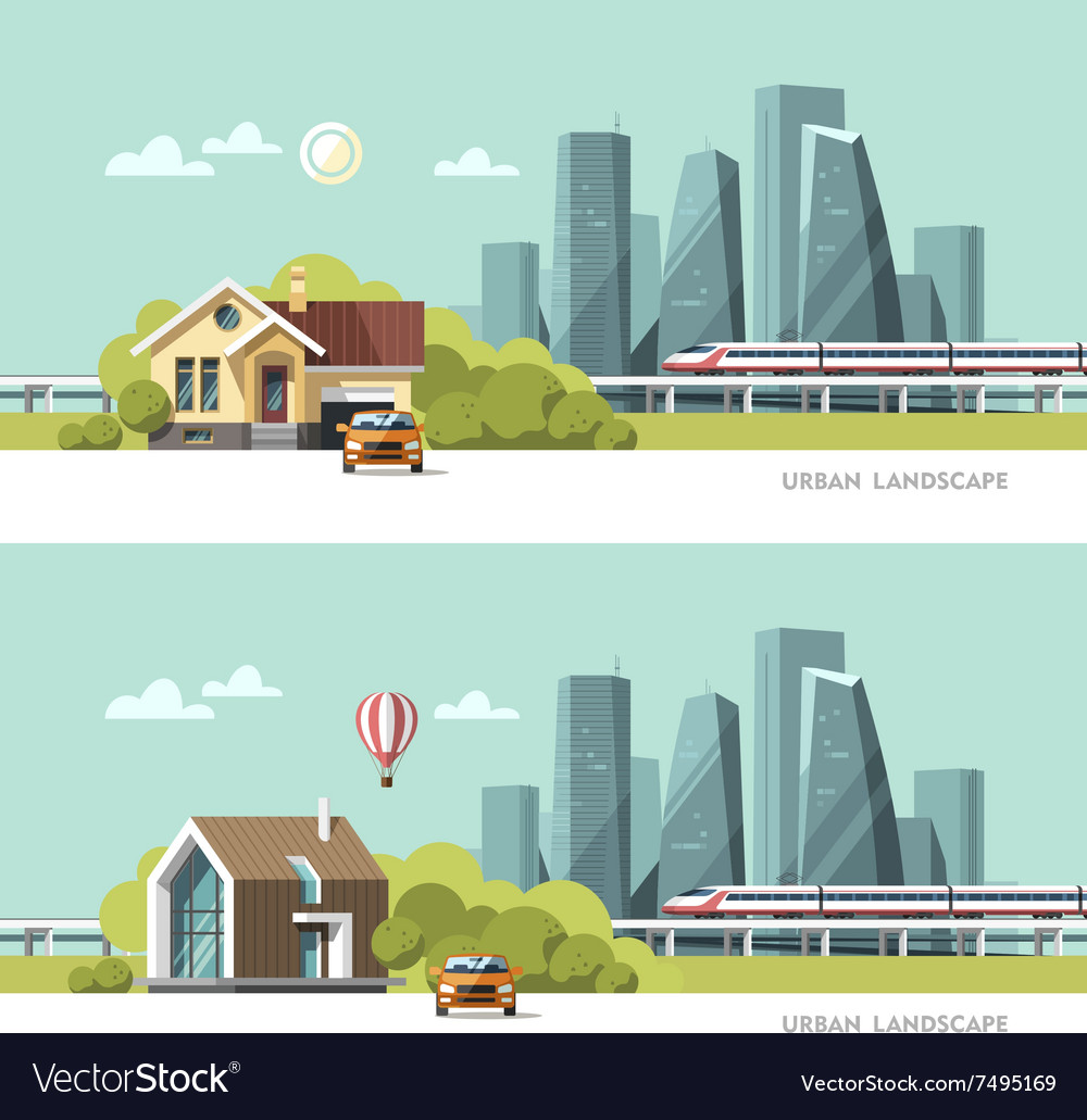 Traditional and modern house urban landscape vector