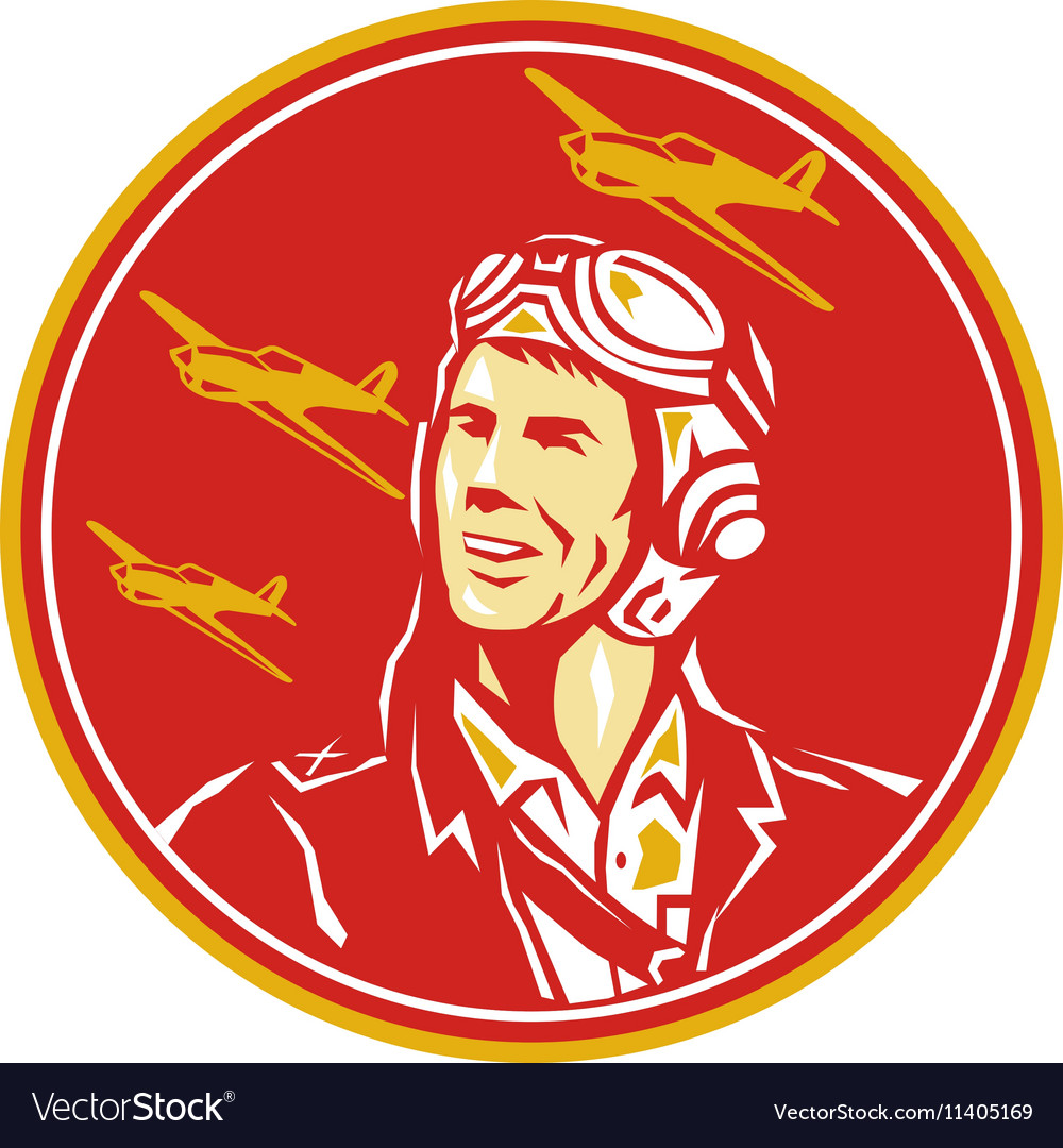 World war 2 pilot airman fighter plane circle vector