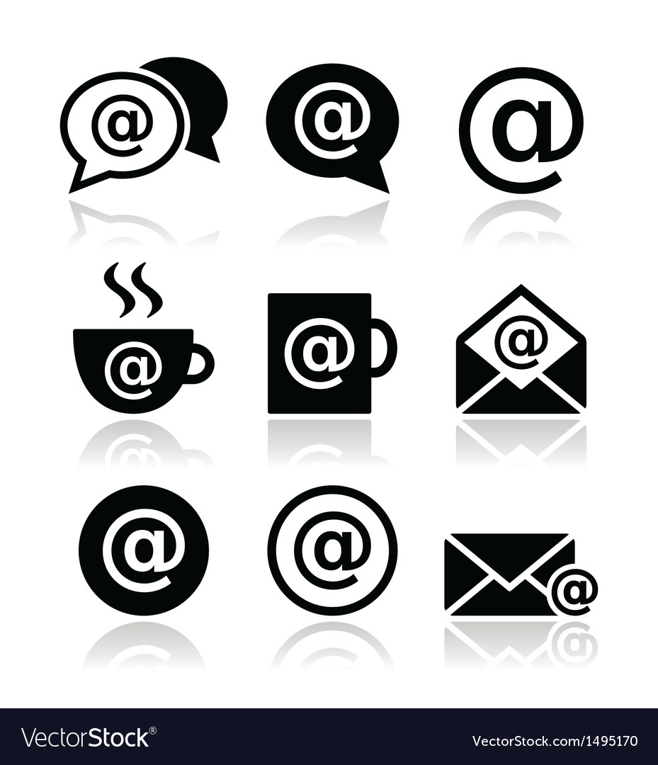 Email internet cafe wifi icons set vector