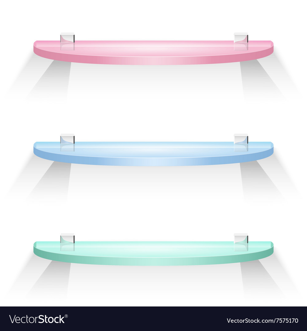 Red green and blue semicircular glass shelves vector